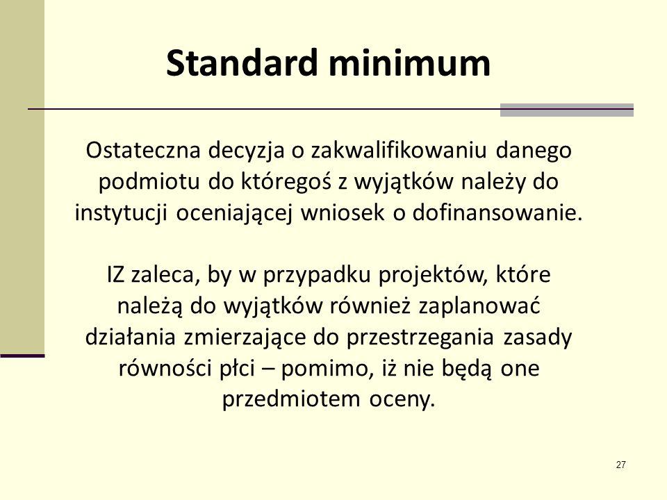 27 Standard minimum Ostateczna decyzja o zakwalifikowaniu danego podmiotu do któregoś z wyjątków należy do instytucji oceniającej wniosek o dofinansow