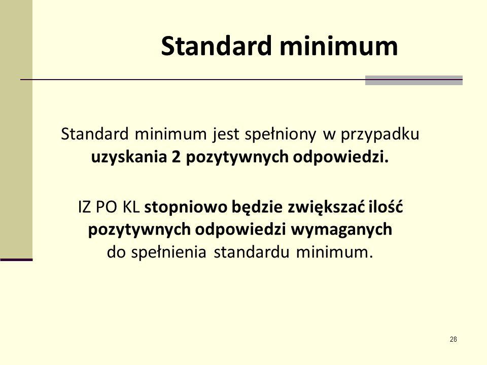 28 Standard minimum Standard minimum jest spełniony w przypadku uzyskania 2 pozytywnych odpowiedzi. IZ PO KL stopniowo będzie zwiększać ilość pozytywn