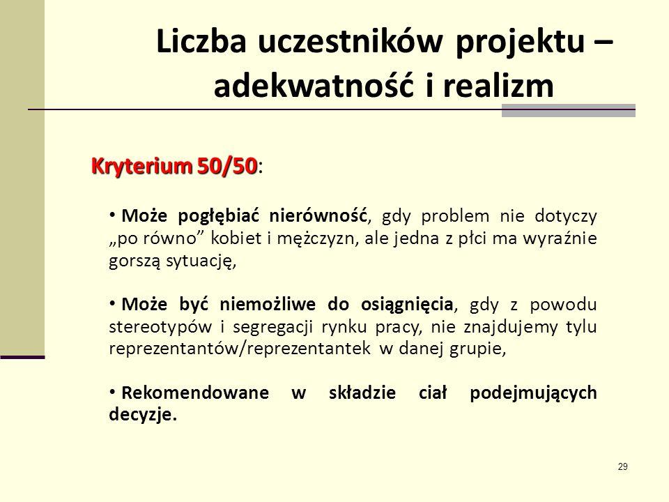 29 Liczba uczestników projektu – adekwatność i realizm Kryterium 50/50 Kryterium 50/50: Może pogłębiać nierówność, gdy problem nie dotyczy po równo ko