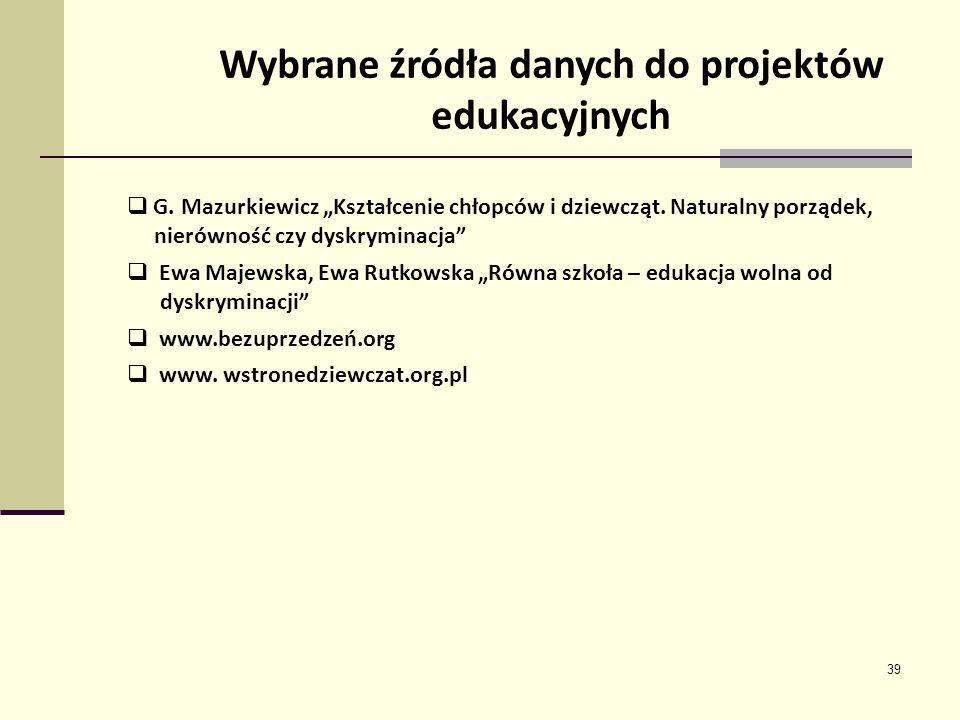 39 Wybrane źródła danych do projektów edukacyjnych G. Mazurkiewicz Kształcenie chłopców i dziewcząt. Naturalny porządek, nierówność czy dyskryminacja