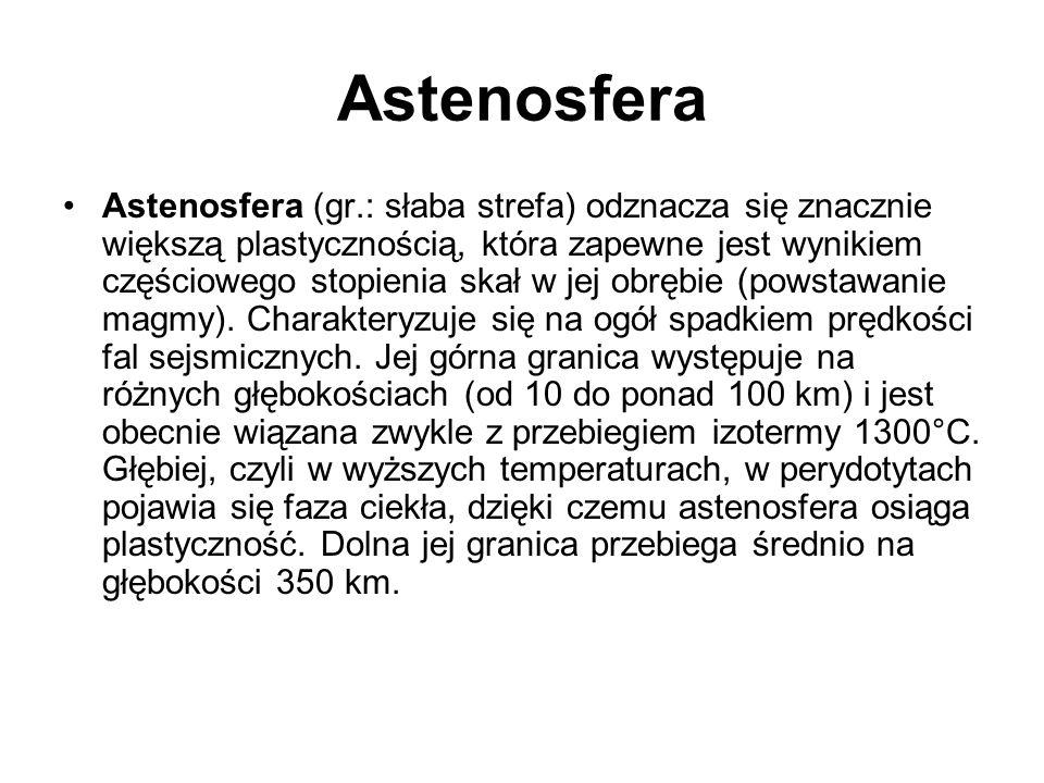 Astenosfera Astenosfera (gr.: słaba strefa) odznacza się znacznie większą plastycznością, która zapewne jest wynikiem częściowego stopienia skał w jej