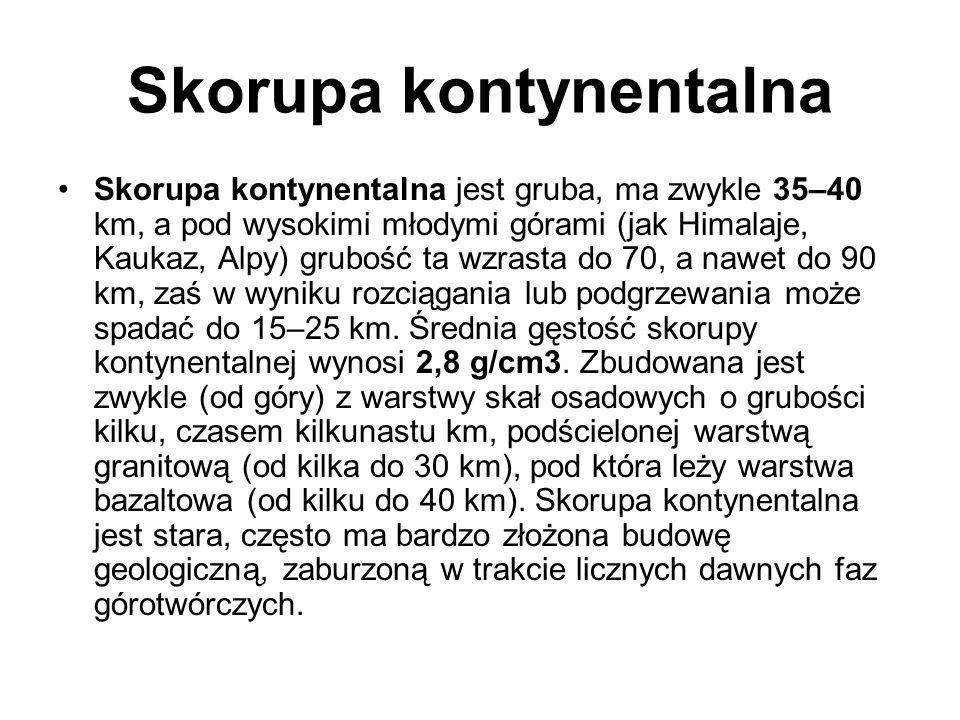 Skorupa kontynentalna Skorupa kontynentalna jest gruba, ma zwykle 35–40 km, a pod wysokimi młodymi górami (jak Himalaje, Kaukaz, Alpy) grubość ta wzra