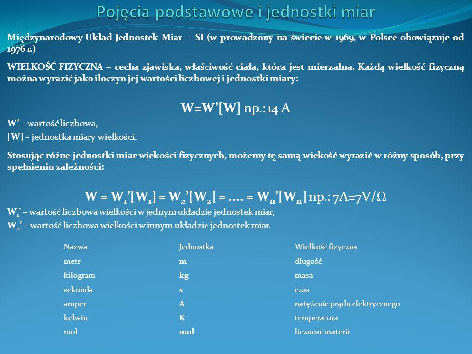 Międzynarodowy Układ Jednostek Miar - SI (w prowadzony na świecie w 1969, w Polsce obowiązuje od 1976 r.) WIELKOŚĆ FIZYCZNA – cecha zjawiska, właściwo