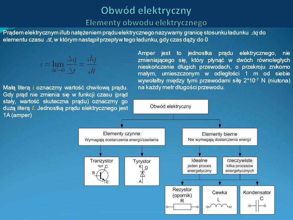 Prądem elektrycznym i/lub natężeniem prądu elektrycznego nazywamy granicę stosunku ładunku q do elementu czasu t, w którym nastąpił przepływ tego ładu
