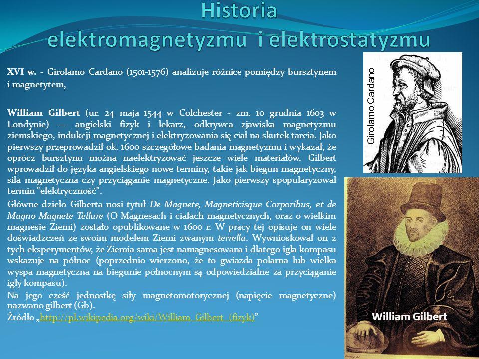 XVI w. - Girolamo Cardano (1501-1576) analizuje różnice pomiędzy bursztynem i magnetytem, Girolamo Cardano William Gilbert William Gilbert (ur. 24 maj