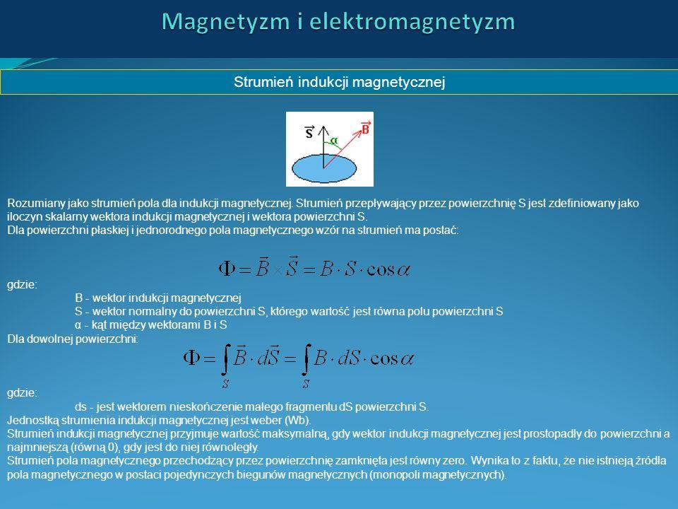 Strumień indukcji magnetycznej Rozumiany jako strumień pola dla indukcji magnetycznej. Strumień przepływający przez powierzchnię S jest zdefiniowany j