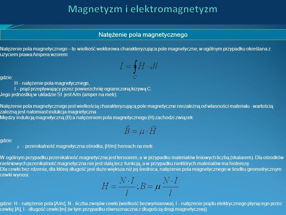 Natężenie pola magnetycznego Natężenie pola magnetycznego – to wielkość wektorowa charakteryzująca pole magnetyczne, w ogólnym przypadku określana z u