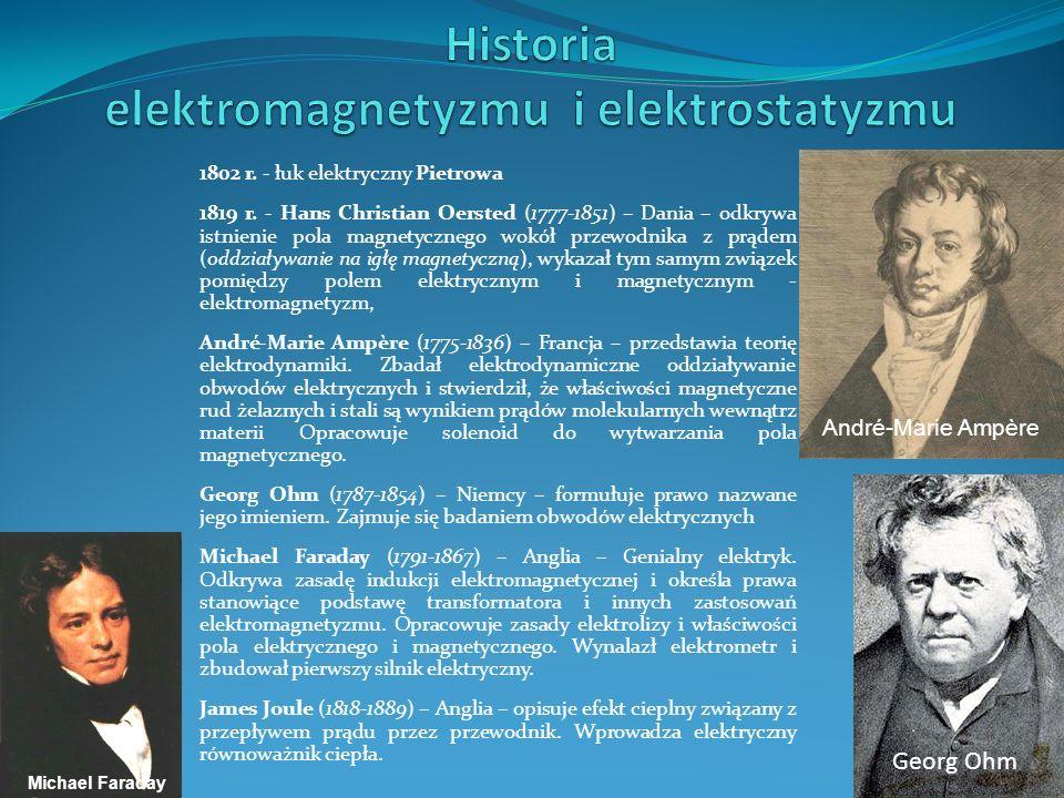 1802 r. - łuk elektryczny Pietrowa 1819 r. - Hans Christian Oersted (1777-1851) – Dania – odkrywa istnienie pola magnetycznego wokół przewodnika z prą