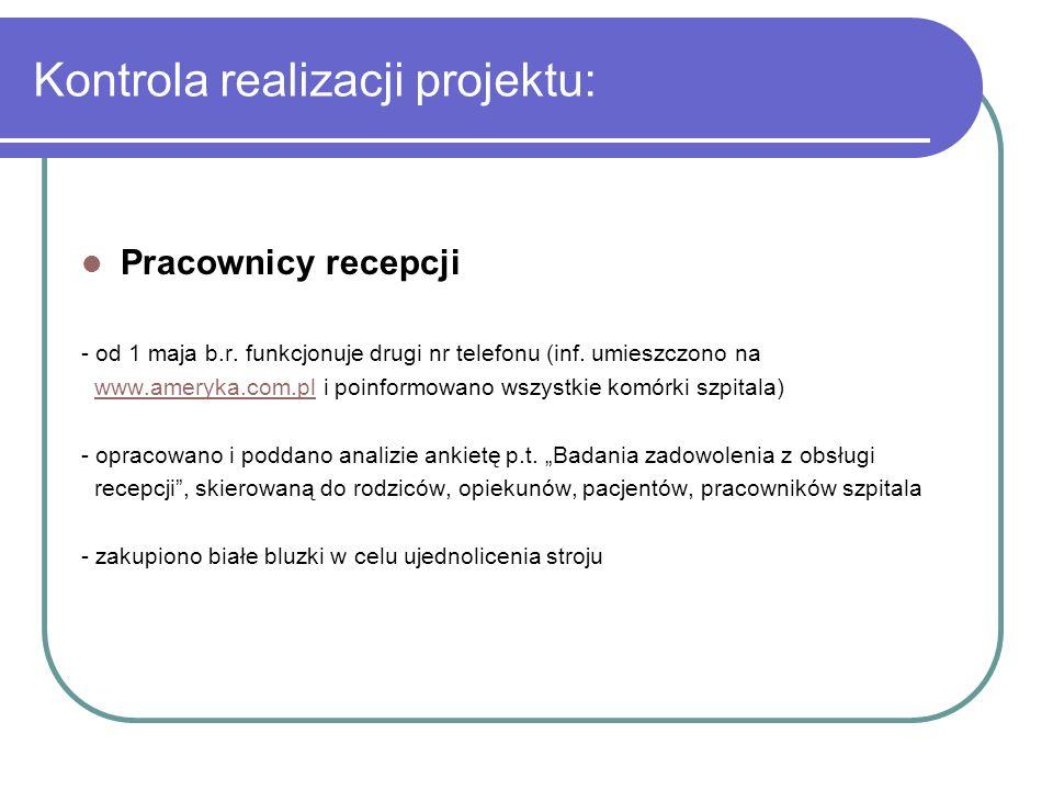 Kontrola realizacji projektu: Pracownicy recepcji - od 1 maja b.r. funkcjonuje drugi nr telefonu (inf. umieszczono na www.ameryka.com.pl i poinformowa