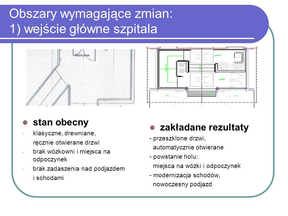 Obszary wymagające zmian: 1) wejście główne szpitala stan obecny - klasyczne, drewniane, ręcznie otwierane drzwi - brak wózkowni i miejsca na odpoczyn