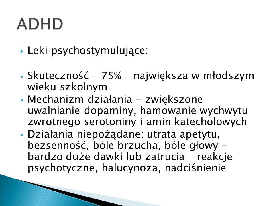 Leki psychostymulujące: Skuteczność – 75% - największa w młodszym wieku szkolnym Mechanizm działania - zwiększone uwalnianie dopaminy, hamowanie wychw