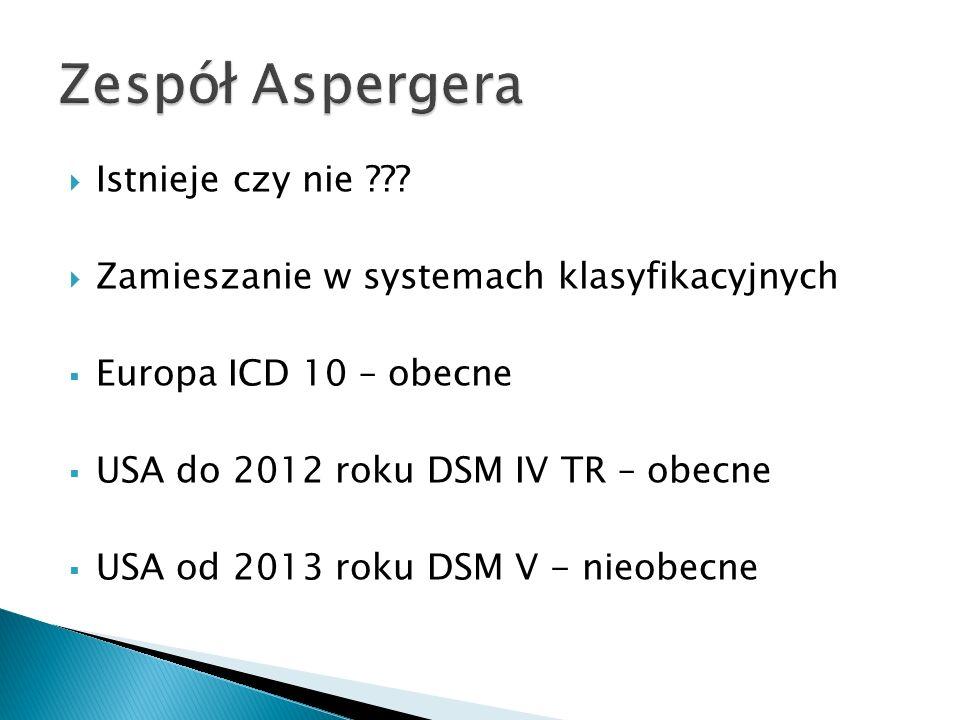 Istnieje czy nie ??? Zamieszanie w systemach klasyfikacyjnych Europa ICD 10 – obecne USA do 2012 roku DSM IV TR – obecne USA od 2013 roku DSM V - nieo