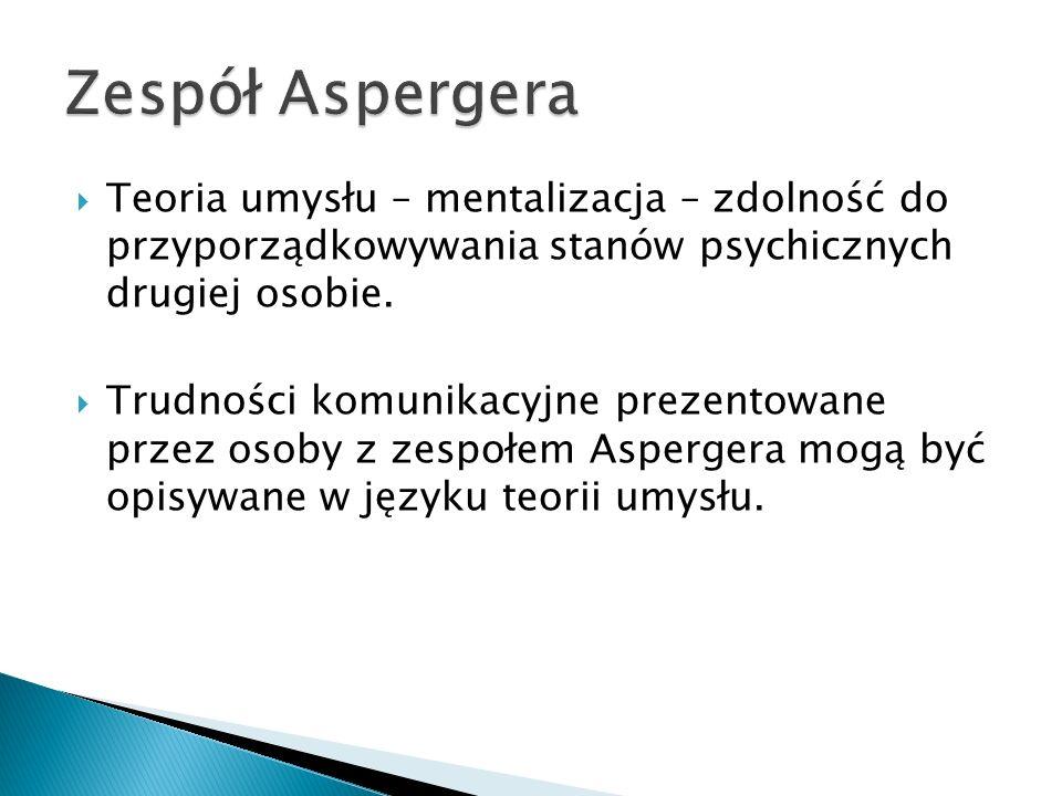 Teoria umysłu – mentalizacja – zdolność do przyporządkowywania stanów psychicznych drugiej osobie. Trudności komunikacyjne prezentowane przez osoby z