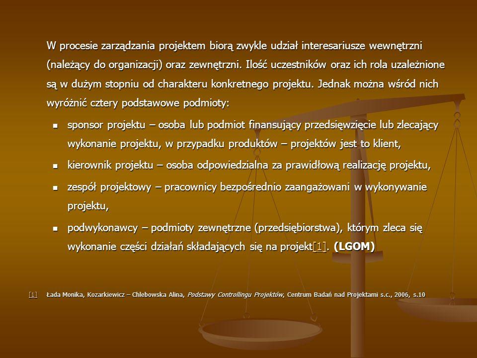 W procesie zarządzania projektem biorą zwykle udział interesariusze wewnętrzni (należący do organizacji) oraz zewnętrzni. Ilość uczestników oraz ich r