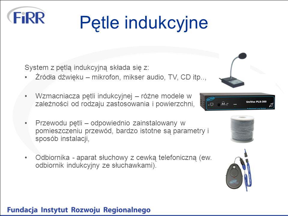 Pętle indukcyjne System z pętlą indukcyjną składa się z: Źródła dźwięku – mikrofon, mikser audio, TV, CD itp.., Wzmacniacza pętli indukcyjnej – różne