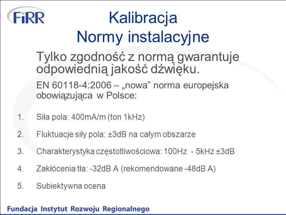Kalibracja Normy instalacyjne Tylko zgodność z normą gwarantuje odpowiednią jakość dźwięku. EN 60118-4:2006 – nowa norma europejska obowiązująca w Pol