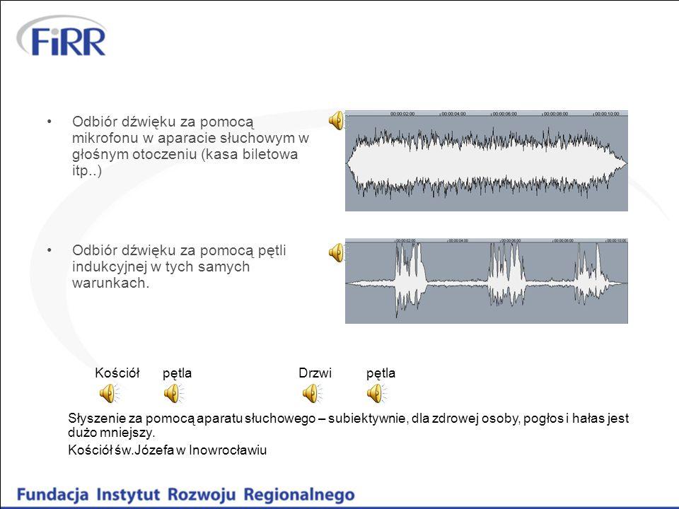 Odbiór dźwięku za pomocą mikrofonu w aparacie słuchowym w głośnym otoczeniu (kasa biletowa itp..) Odbiór dźwięku za pomocą pętli indukcyjnej w tych sa