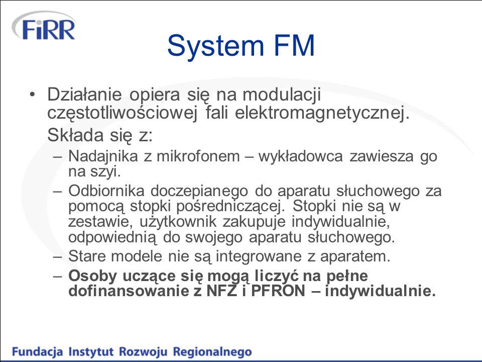 System FM Działanie opiera się na modulacji częstotliwościowej fali elektromagnetycznej. Składa się z: –Nadajnika z mikrofonem – wykładowca zawiesza g