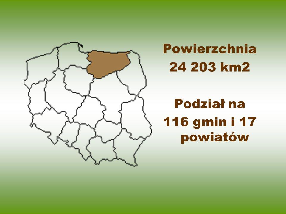 Powierzchnia 24 203 km2 Podział na 116 gmin i 17 powiatów