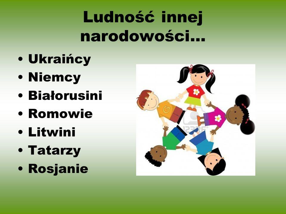 Ludność innej narodowości… Ukraińcy Niemcy Białorusini Romowie Litwini Tatarzy Rosjanie