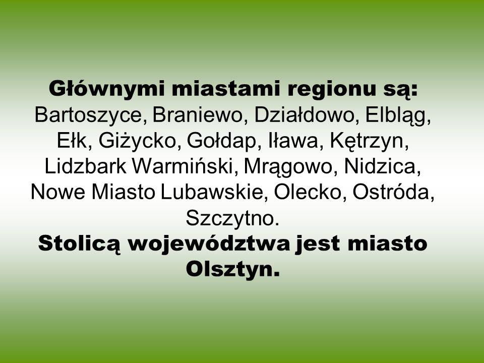 Głównymi miastami regionu są: Bartoszyce, Braniewo, Działdowo, Elbląg, Ełk, Giżycko, Gołdap, Iława, Kętrzyn, Lidzbark Warmiński, Mrągowo, Nidzica, Now