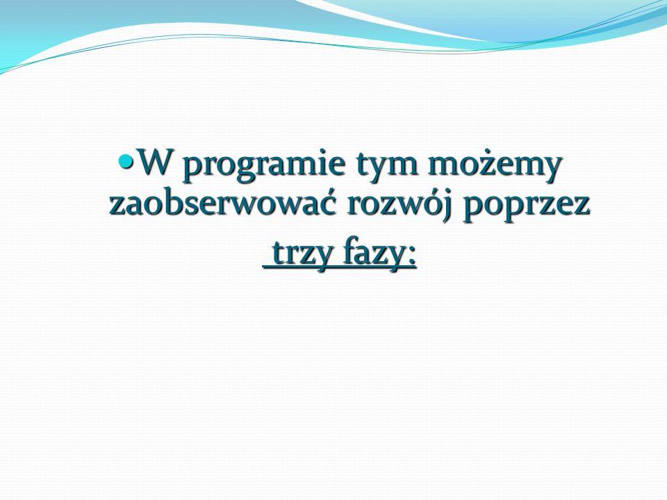 W programie tym możemy zaobserwować rozwój poprzez W programie tym możemy zaobserwować rozwój poprzez trzy fazy: trzy fazy: