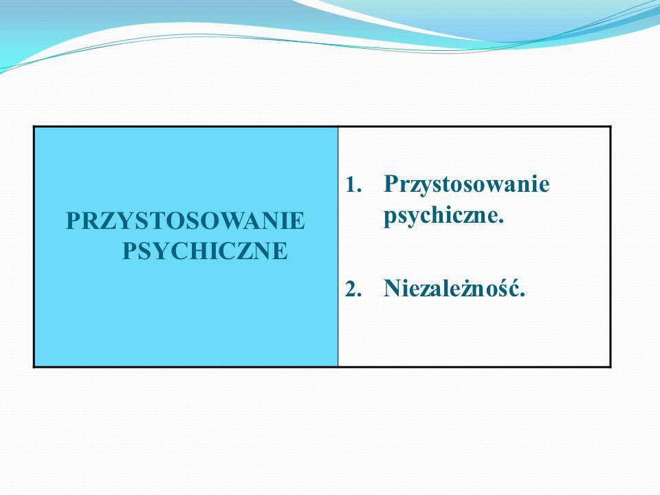 PRZYSTOSOWANIE PSYCHICZNE 1. Przystosowanie psychiczne. 2. Niezależność.