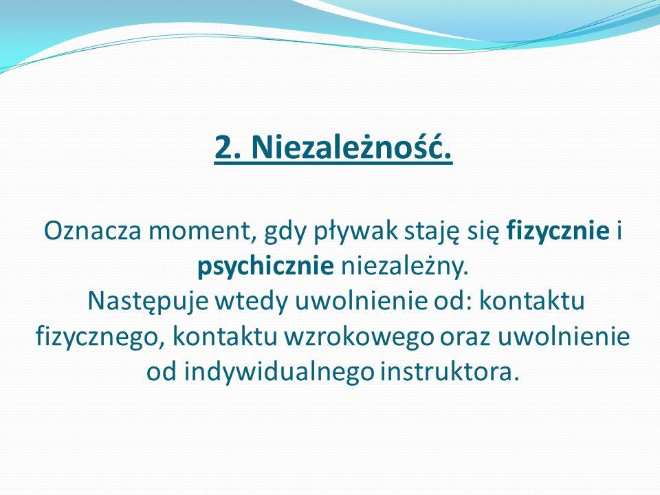 2. Niezależność. Oznacza moment, gdy pływak staję się fizycznie i psychicznie niezależny. Następuje wtedy uwolnienie od: kontaktu fizycznego, kontaktu