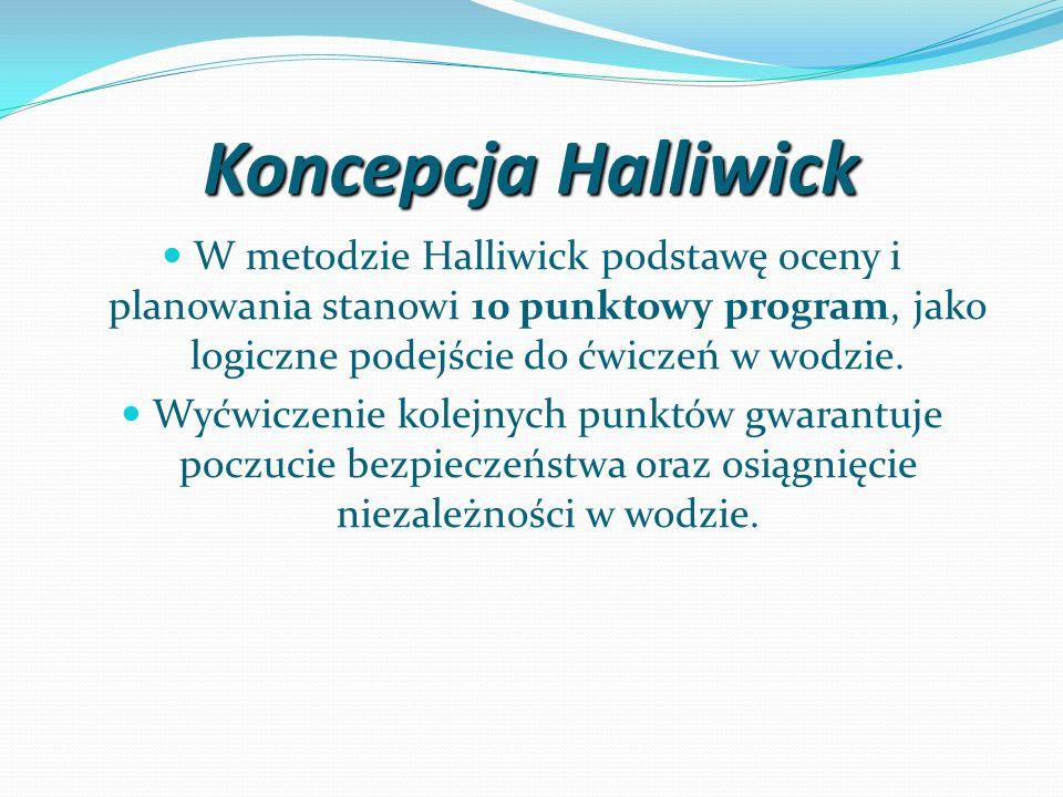 Koncepcja Halliwick W metodzie Halliwick podstawę oceny i planowania stanowi 10 punktowy program, jako logiczne podejście do ćwiczeń w wodzie. Wyćwicz