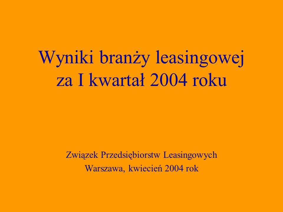 Związek Przedsiębiorstw Leasingowych Warszawa, kwiecień 2004 rok Wyniki branży leasingowej za I kwartał 2004 roku