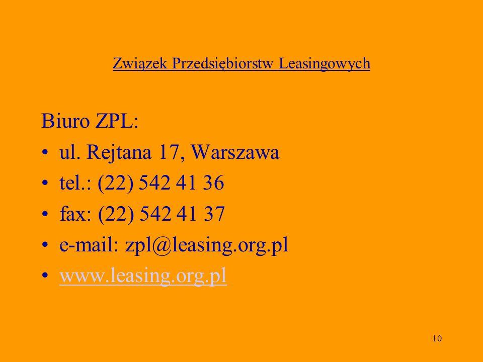 10 Związek Przedsiębiorstw Leasingowych Biuro ZPL: ul. Rejtana 17, Warszawa tel.: (22) 542 41 36 fax: (22) 542 41 37 e-mail: zpl@leasing.org.pl www.le