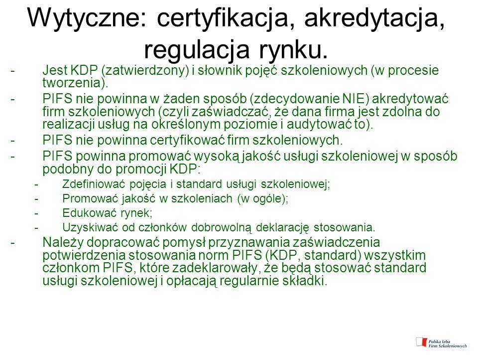 Wytyczne: certyfikacja, akredytacja, regulacja rynku. -Jest KDP (zatwierdzony) i słownik pojęć szkoleniowych (w procesie tworzenia). -PIFS nie powinna