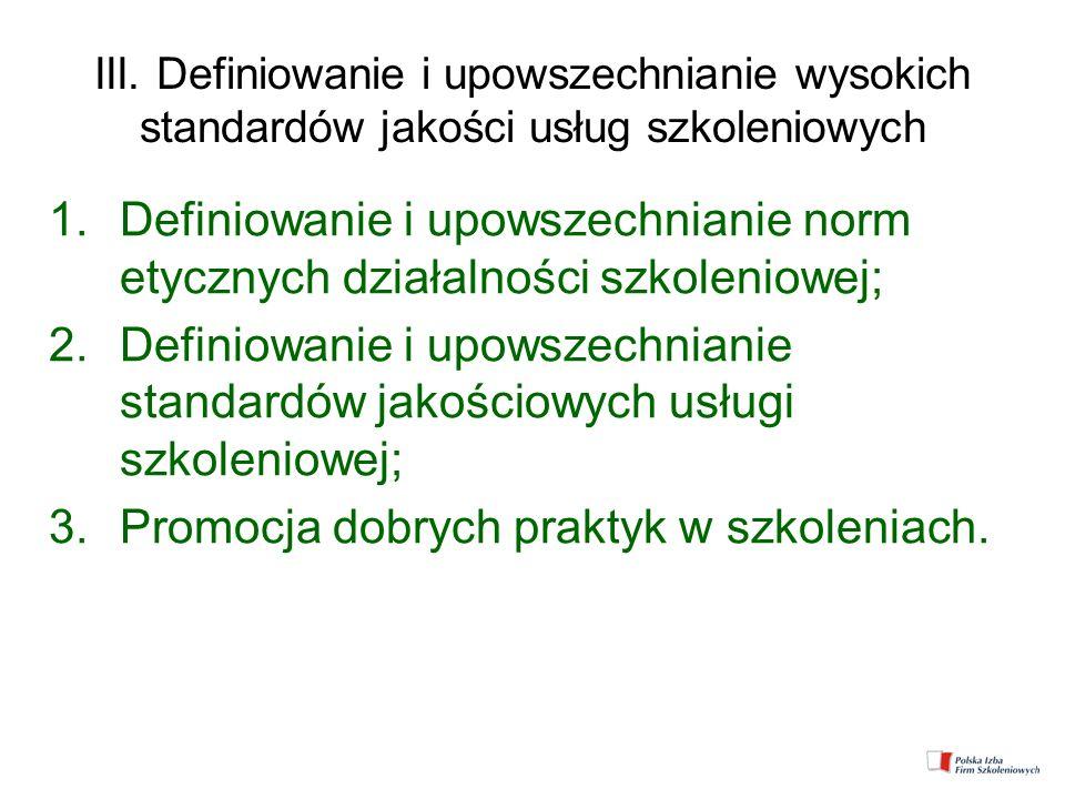 III. Definiowanie i upowszechnianie wysokich standardów jakości usług szkoleniowych 1.Definiowanie i upowszechnianie norm etycznych działalności szkol
