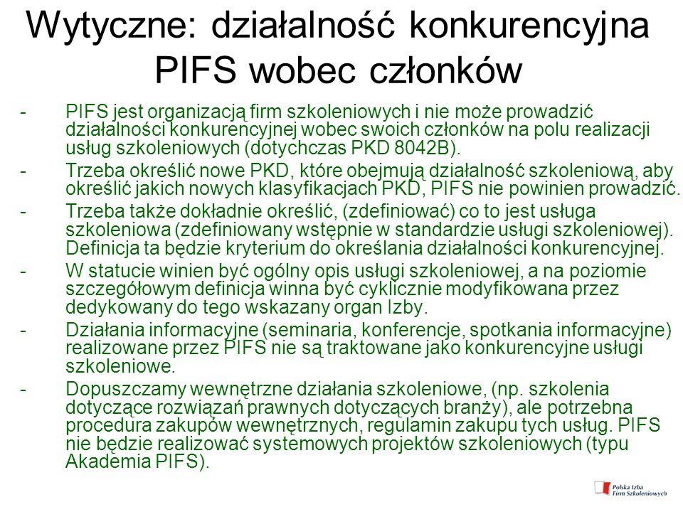Wytyczne: działalność konkurencyjna PIFS wobec członków -PIFS jest organizacją firm szkoleniowych i nie może prowadzić działalności konkurencyjnej wob