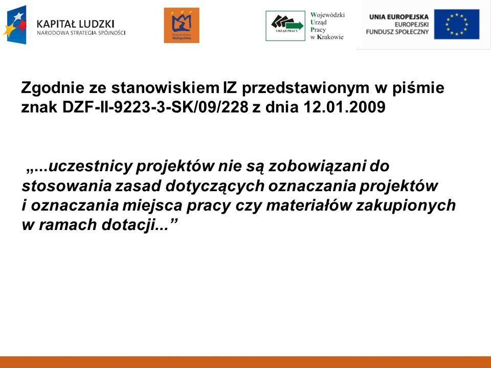 Zgodnie ze stanowiskiem IZ przedstawionym w piśmie znak DZF-II-9223-3-SK/09/228 z dnia 12.01.2009...uczestnicy projektów nie są zobowiązani do stosowa