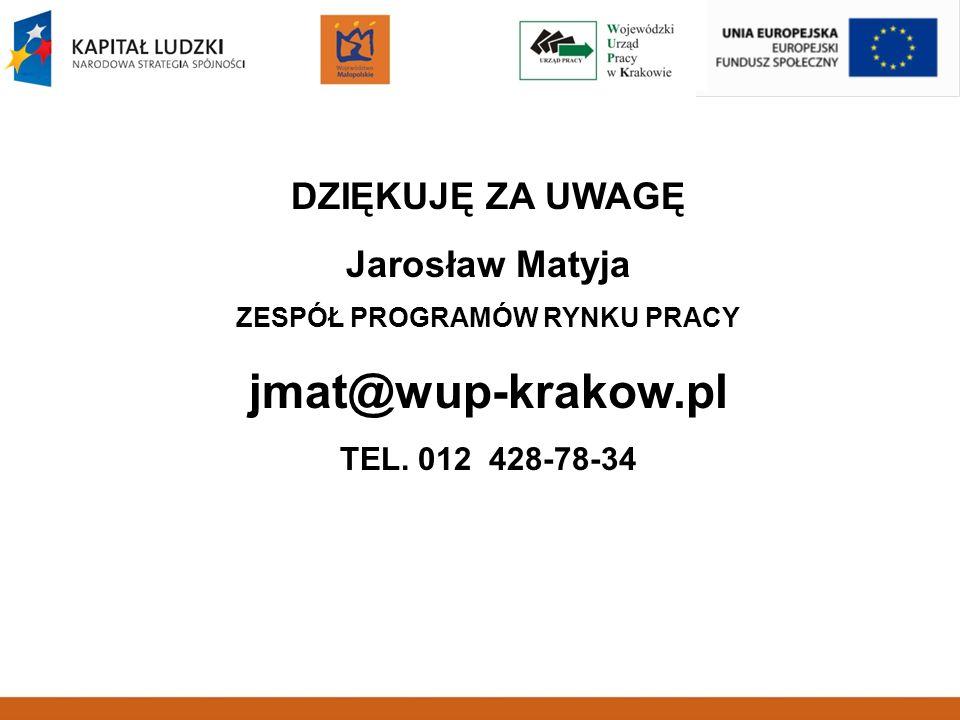 DZIĘKUJĘ ZA UWAGĘ Jarosław Matyja ZESPÓŁ PROGRAMÓW RYNKU PRACY jmat@wup-krakow.pl TEL. 012 428-78-34