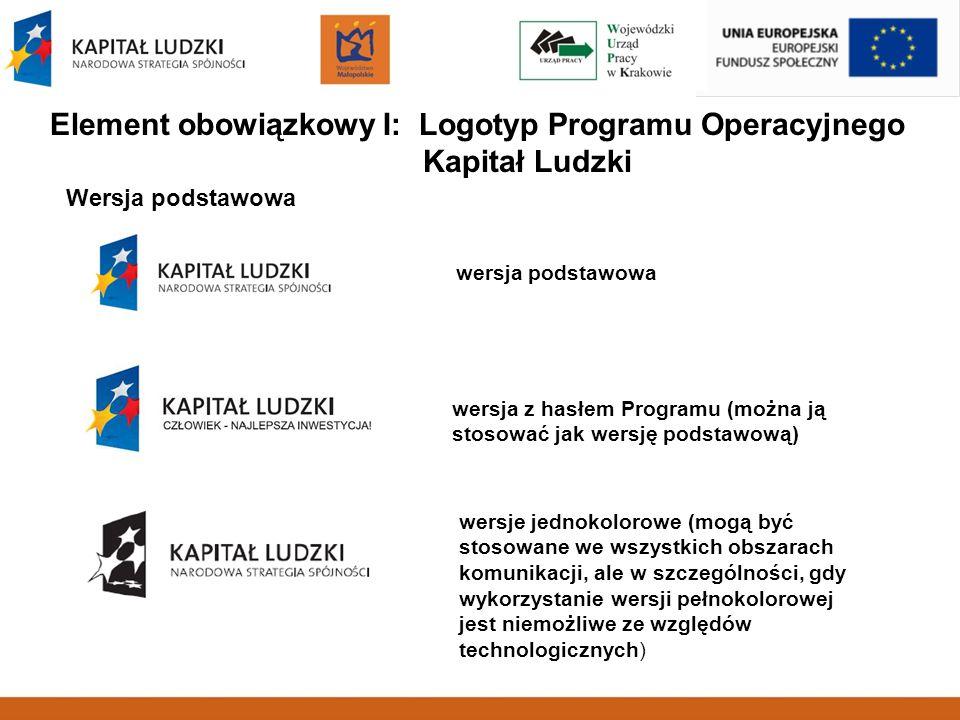 Element obowiązkowy I: Logotyp Programu Operacyjnego Kapitał Ludzki Wersja podstawowa wersja z hasłem Programu (można ją stosować jak wersję podstawow