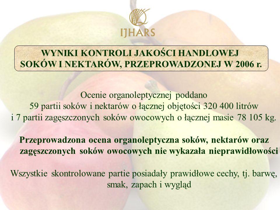 Ocenie organoleptycznej poddano 59 partii soków i nektarów o łącznej objętości 320 400 litrów i 7 partii zagęszczonych soków owocowych o łącznej masie 78 105 kg.