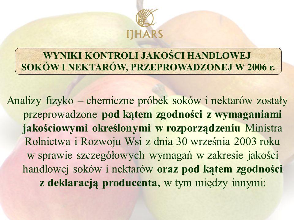 Analizy fizyko – chemiczne próbek soków i nektarów zostały przeprowadzone pod kątem zgodności z wymaganiami jakościowymi określonymi w rozporządzeniu Ministra Rolnictwa i Rozwoju Wsi z dnia 30 września 2003 roku w sprawie szczegółowych wymagań w zakresie jakości handlowej soków i nektarów oraz pod kątem zgodności z deklaracją producenta, w tym między innymi: WYNIKI KONTROLI JAKOŚCI HANDLOWEJ SOKÓW I NEKTARÓW, PRZEPROWADZONEJ W 2006 r.