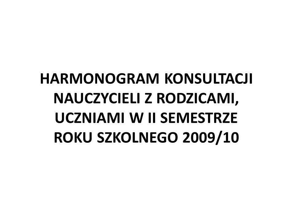 HARMONOGRAM KONSULTACJI NAUCZYCIELI Z RODZICAMI, UCZNIAMI W II SEMESTRZE ROKU SZKOLNEGO 2009/10