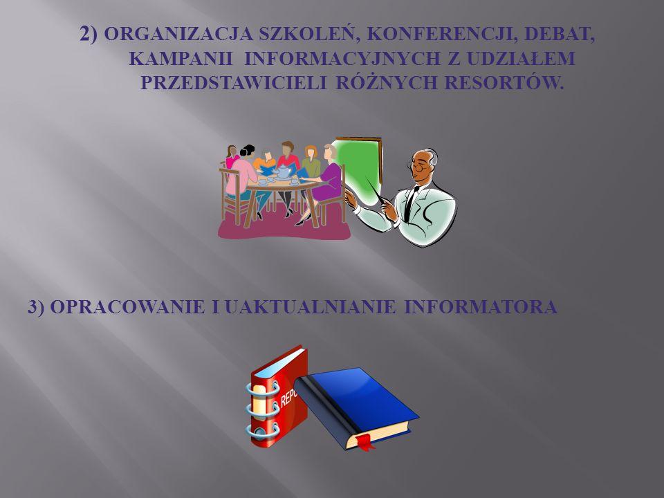 2) ORGANIZACJA SZKOLEŃ, KONFERENCJI, DEBAT, KAMPANII INFORMACYJNYCH Z UDZIAŁEM PRZEDSTAWICIELI RÓŻNYCH RESORTÓW. 3) OPRACOWANIE I UAKTUALNIANIE INFORM