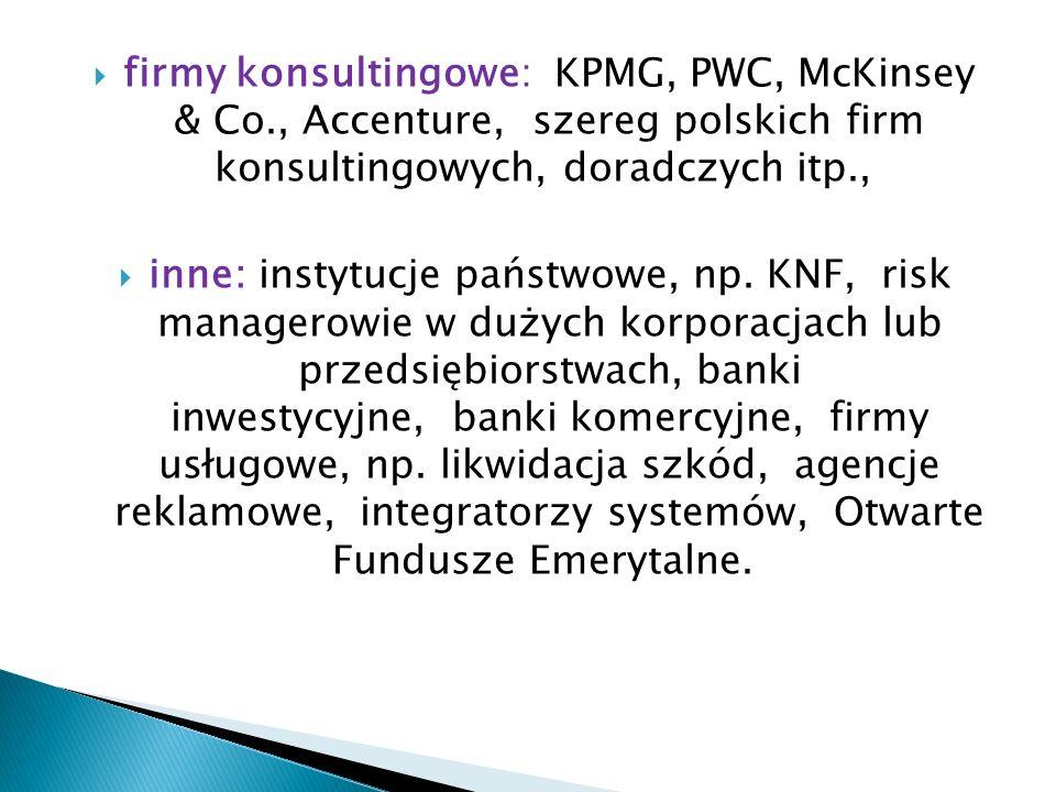 firmy konsultingowe: KPMG, PWC, McKinsey & Co., Accenture, szereg polskich firm konsultingowych, doradczych itp., inne: instytucje państwowe, np. KNF,