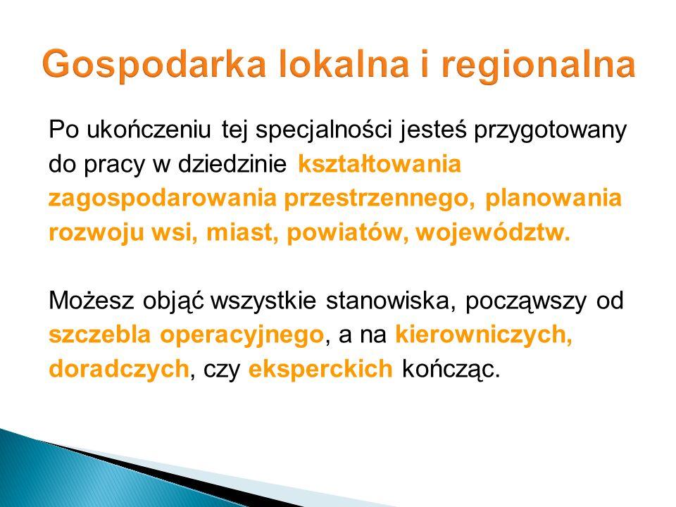 Po ukończeniu tej specjalności jesteś przygotowany do pracy w dziedzinie kształtowania zagospodarowania przestrzennego, planowania rozwoju wsi, miast,
