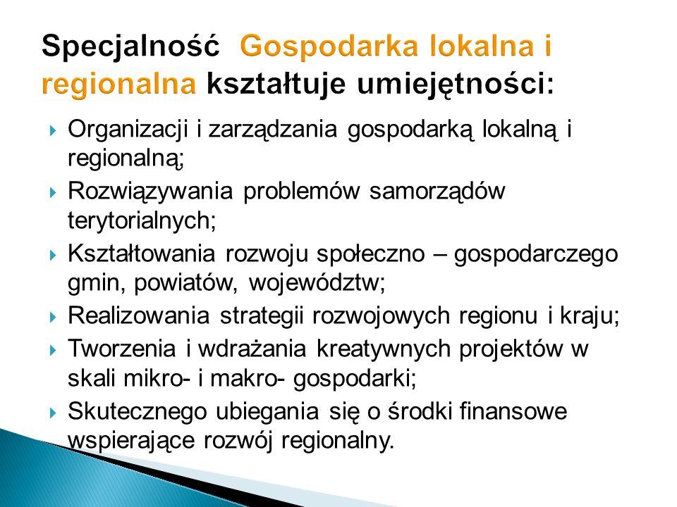 Organizacji i zarządzania gospodarką lokalną i regionalną; Rozwiązywania problemów samorządów terytorialnych; Kształtowania rozwoju społeczno – gospod