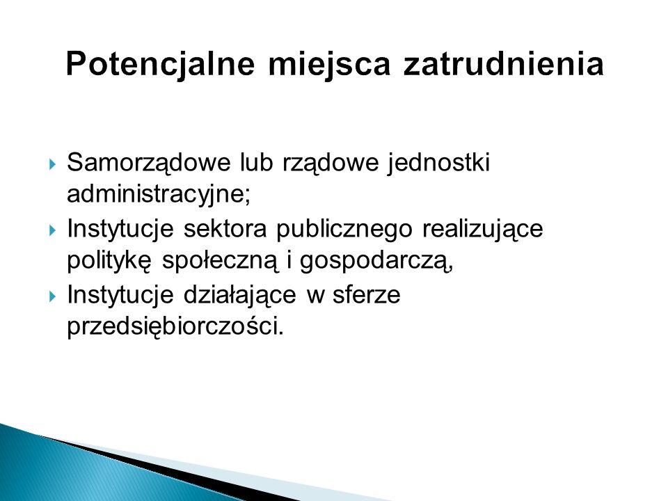 Samorządowe lub rządowe jednostki administracyjne; Instytucje sektora publicznego realizujące politykę społeczną i gospodarczą, Instytucje działające
