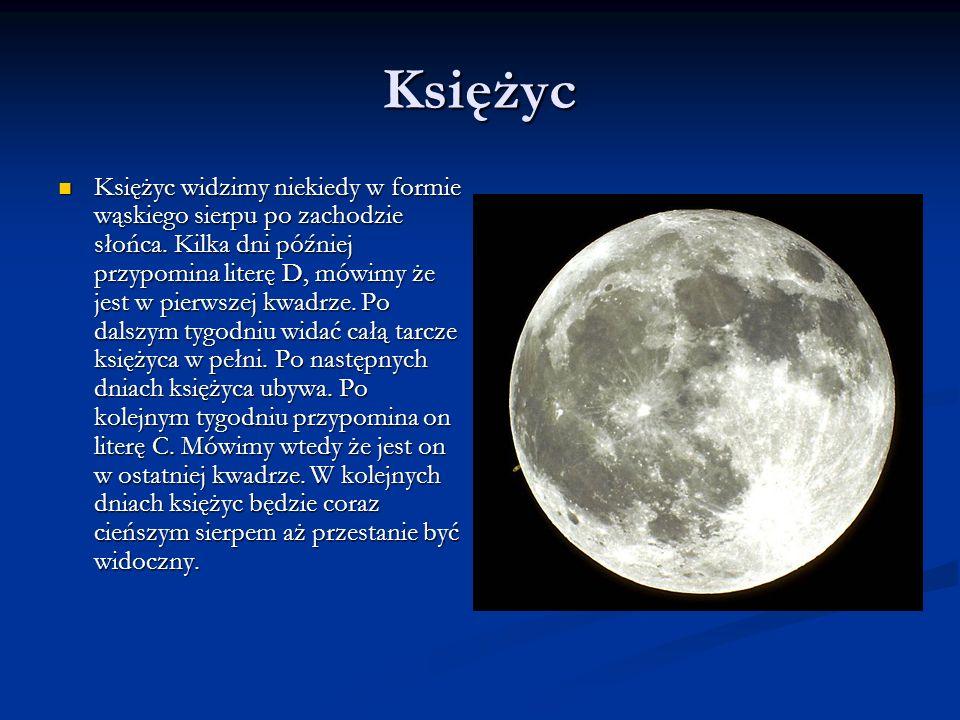 Księżyc Księżyc widzimy niekiedy w formie wąskiego sierpu po zachodzie słońca. Kilka dni później przypomina literę D, mówimy że jest w pierwszej kwadr