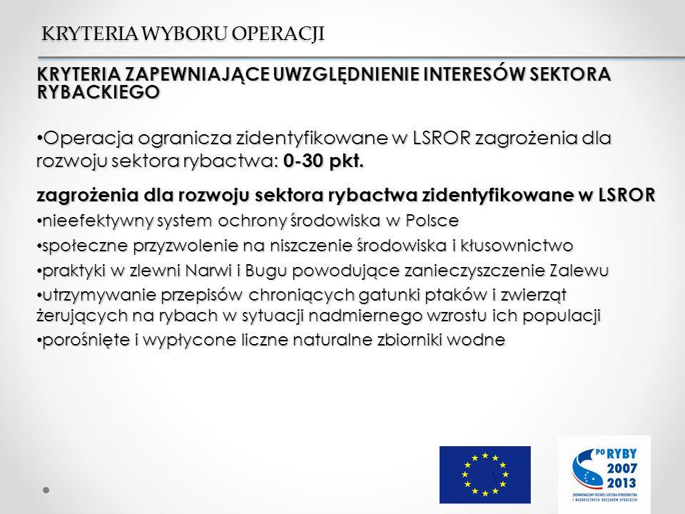 KRYTERIA ZAPEWNIAJĄCE UWZGLĘDNIENIE INTERESÓW SEKTORA RYBACKIEGO Operacja ogranicza zidentyfikowane w LSROR zagrożenia dla rozwoju sektora rybactwa: 0