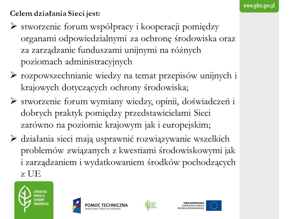 Celem działania Sieci jest: stworzenie forum współpracy i kooperacji pomiędzy organami odpowiedzialnymi za ochronę środowiska oraz za zarządzanie fund