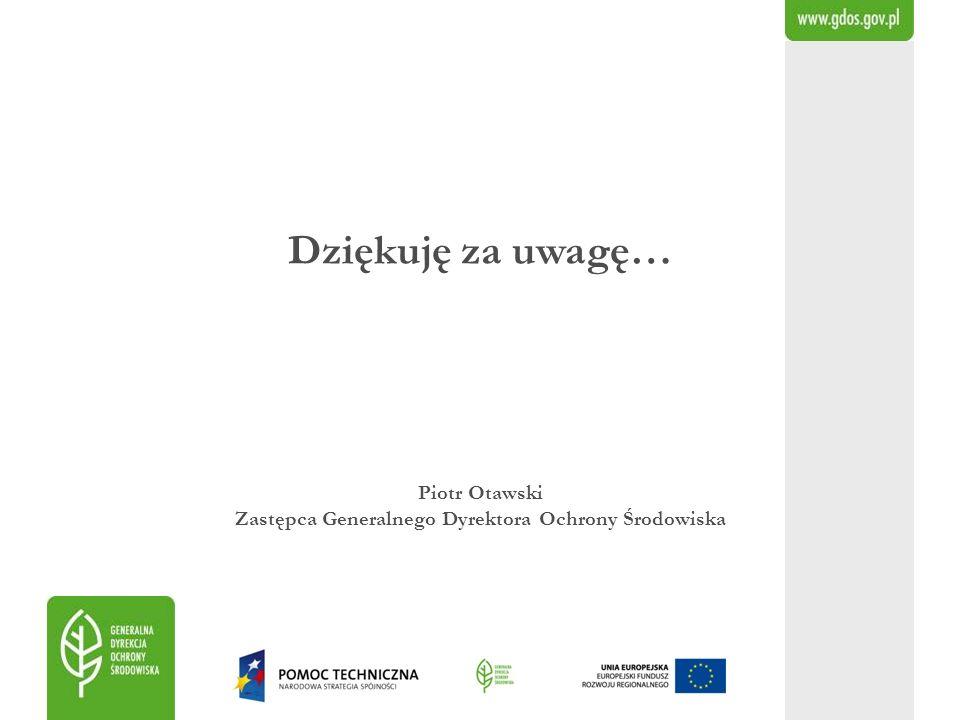 Dziękuję za uwagę… Piotr Otawski Zastępca Generalnego Dyrektora Ochrony Środowiska