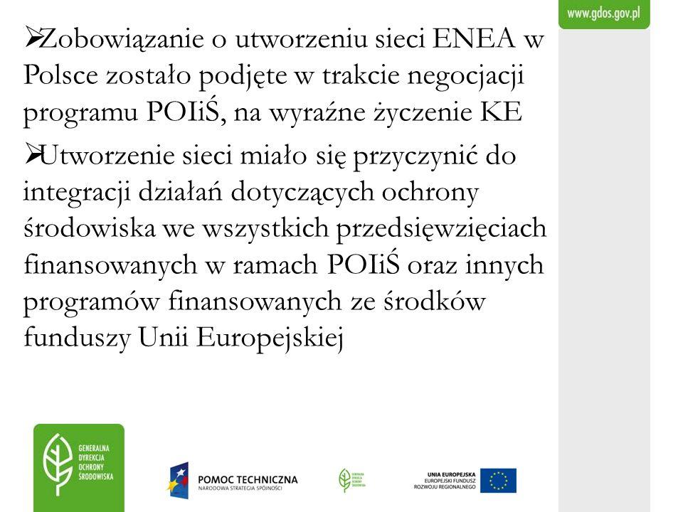 Zobowiązanie o utworzeniu sieci ENEA w Polsce zostało podjęte w trakcie negocjacji programu POIiŚ, na wyraźne życzenie KE Utworzenie sieci miało się p